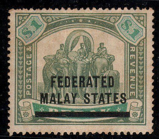 MALAYA FMS 1900 $1 SG11 mint lightly hinged................................10486