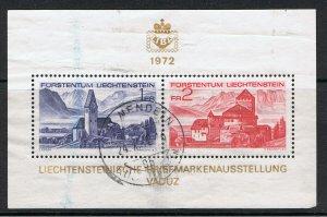 LIECHTENSTEIN 1972 PHILATELIC EXHIBITION SOUVENIR SHEET