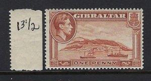 GIBRALTAR SCOTT #108B  GEORGE VI 1P PERF 13 1/2 - MINT LH