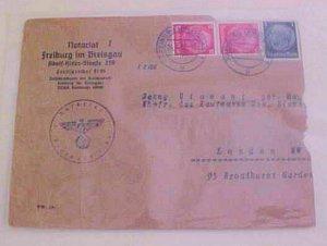GERMAN 1939 FREIBURG NOTARIAT TO LONDON