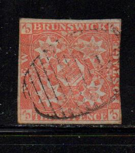 New Brunswick Sc 1 1851 3d rose Crown & Flowers stamp used