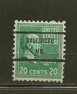 USA 825 Garfield Baltimore MD Precancel Used