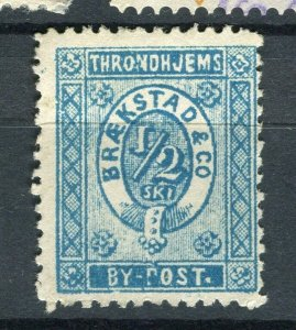 NORWAY; THRONDHJEMS 1860s- early classic By Post Local Imperf issue