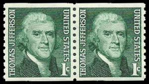 PCBstamps  US #1299 Coil Pair  2c(2x1c)Thomas Jefferson, 1968, MNH, (9)