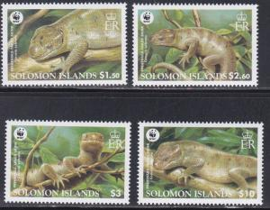 Solomon Islands # 1035-1038, WWF - Skinks, NH, 1/2 Cat