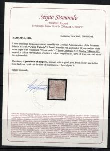Bahamas 1884-90 SC 27-32 Set LH CV$ 482.50 - Certificate for 32