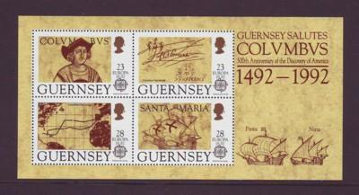 Guernsey Sc 470a 1992 Columbus Europa stamp sheet mint NH