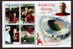 Gibraltar 2002  # Bobby Moore Soccer S/Sheet MNH # 908a