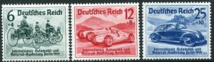 GERMANY-3rd Reich 1939 Motor Show Set of 3 Sg 674-6 UNMOUNTED MINT V29360