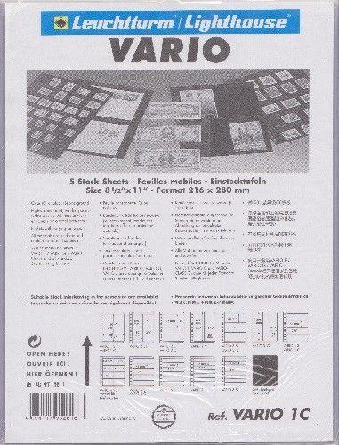 Vario Stock Sheets 1C: One Clear 10.25 x 7.62 Pocket - Package of 5 - New
