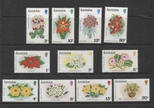 ASCENSION- Scott 274-84 - Flowers Short Set of 11 Stamps -1981 - MVLH