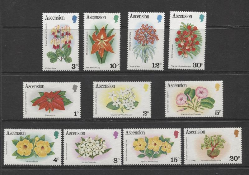 ASCENSION- Scott 274-84 - Flowers Short Set of 11 Stamps -1981 - MVLH