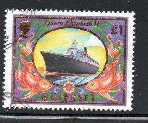 Guernsey Sc 658 1999 £1 ship Queen Elizabeth II stamp used