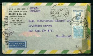 BRAZIL SAO PAULO 9/30/1944 DOUBLE CENSORED COVER TO NEW YORK AS SHOWN