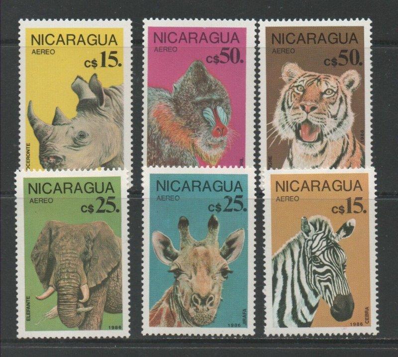 Nicaragua MNH 2799-804 Endangered Animals Wildlife 1986
