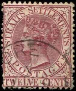 Straits Settlements SC# 52  Victoria 12c used wmk 2