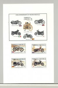 Turks & Caicos #690-694 Motorcycles 4v & 1v S/S Imperf Proofs on Card
