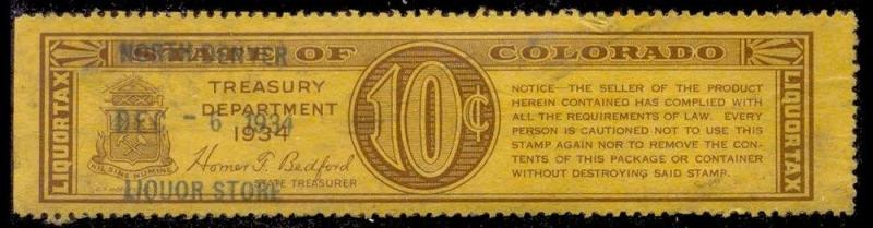 Colorado State Revenue Stamp 10c Liquor Tax # WL8