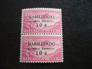Stamps - Cuba - Scott# E29 - Mint Hinged Pair of 2 Stamps - Overprinted
