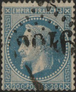 FRANCE - Yv.29B obl. GC (prob. 2046 Lille) - trait blanc derrière la nuque - TB