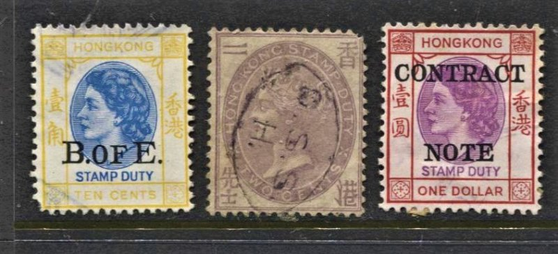 STAMP STATION PERTH Hong Kong #3 Contract note stamps Used - Unchecked