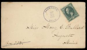 USA 1882 SAGUACHE Colorado Cover CONTENTS Augusta Maine 90076