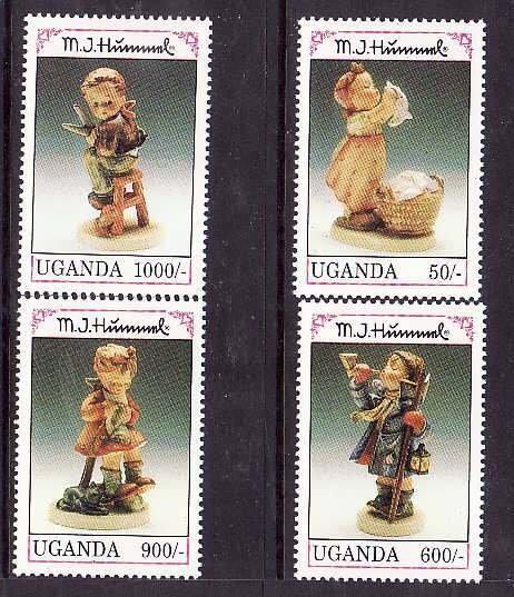 Uganda-Sc#1034//1041- id5-unusedNH half set-Hummel figurines-1992-