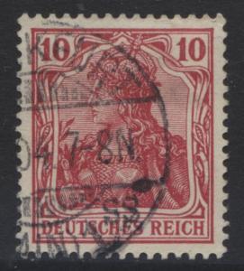 GERMANY. -Scott 68- Definitives -1902 - Used - Carmine - Single 10pf Stamp2