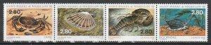 1995 St. Pierre and Miquelon - Sc 616a - MNH VF - 1 strip of 4 - Shellfish