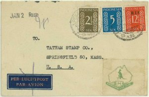 93739 - INDONESIA  - POSTAL HISTORY - OVERPRINTED stamps  Airmail COVER   1950