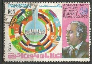 PAKISTAN, 1975,  used 1r, Flags of Participants. Scott 379