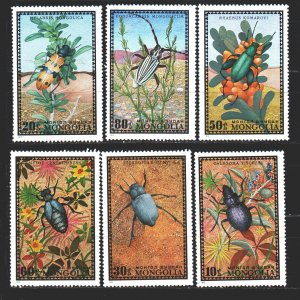 Mongolia. 1972. 685-90 from the series. Insects fauna. MNH.
