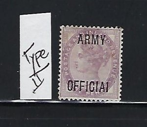 GREAT BRITAIN SCOTT #O55A 1896 ARMY OFFICIALS OVPT. 1P (LILAC)  MINT HINGED