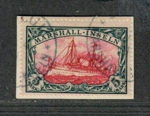 German Poss Marshall Islands Sc#25 Used/VF, Signed On Piece, Cv. $500