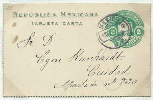 MEXICO 2c lettercard 1904 used 1907........................................58760