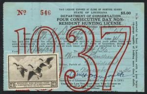 #RW3 ON LICENSE -- STATE OF LOUISIANA 1937 -- BT2876