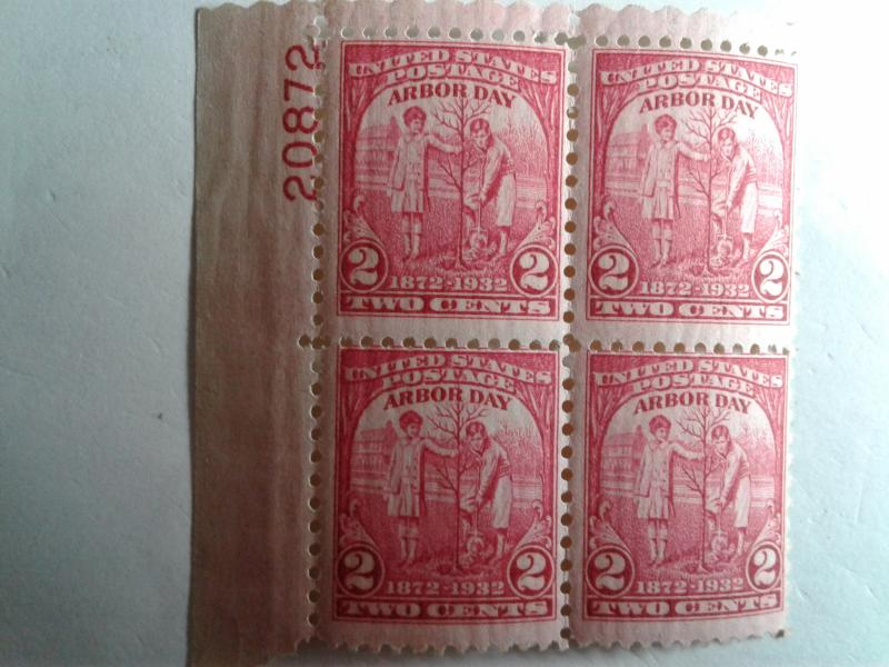 SCOTT # 717 ARBOR DAY PLATE BLOCK MINT NEVER HINGED GREAT LOOKING GEM  !!