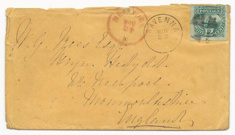 US Scott #117 Tied to Cover Cork Cancel to England NY PKT Red CDS Nov 22, 1869
