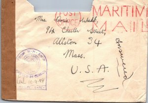 HMS > Allston MA Maritime Mail on active service Mis Majesty's Ships censor