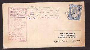 Tonga, 1934 Tin Can Mail cover to USA      -BO19