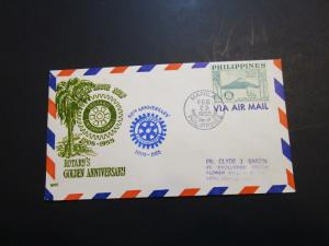Philippines 1955 50c Rotary Series FDC - Z3628