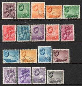 Seychelles 1938 KGVI p/set (18v. all identified) used