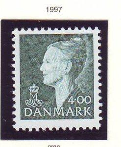 Denmark Sc 894 1997 4.00 kr deep blue green Queen stamp mint NH