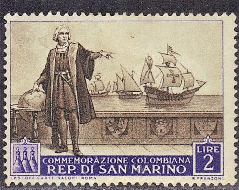 SAN MARINO  SC #309 **MH** 1952 COLUMBUS & SHIP   SEE SCAN