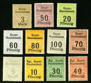 Bavaria Stamps Lot of 11 Local Values