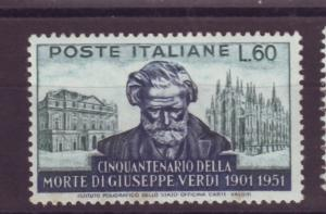 J17177 JLstamps 1951 italy hv of set mnh #596 verdi