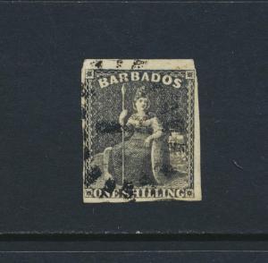 BARBADOS 1858, 1sh BLACK, VF USED 4 MARGIN SG#12a CAT£75 (SEE BELOW)