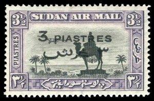 Sudan 1938 'Air 'Mail' 3p on 3½p black & violet P14 MLH. SG 75. Sc C32.