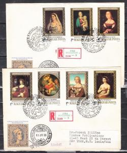 Hungary, Scott cat. 2785-2791. Paintings, IMPERF issue. 2 First day covers.