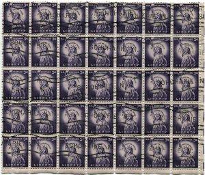 US #1035 Statue of Liberty 3c SCHOHARIE NY Precancel Block of 35 Stamps Postage